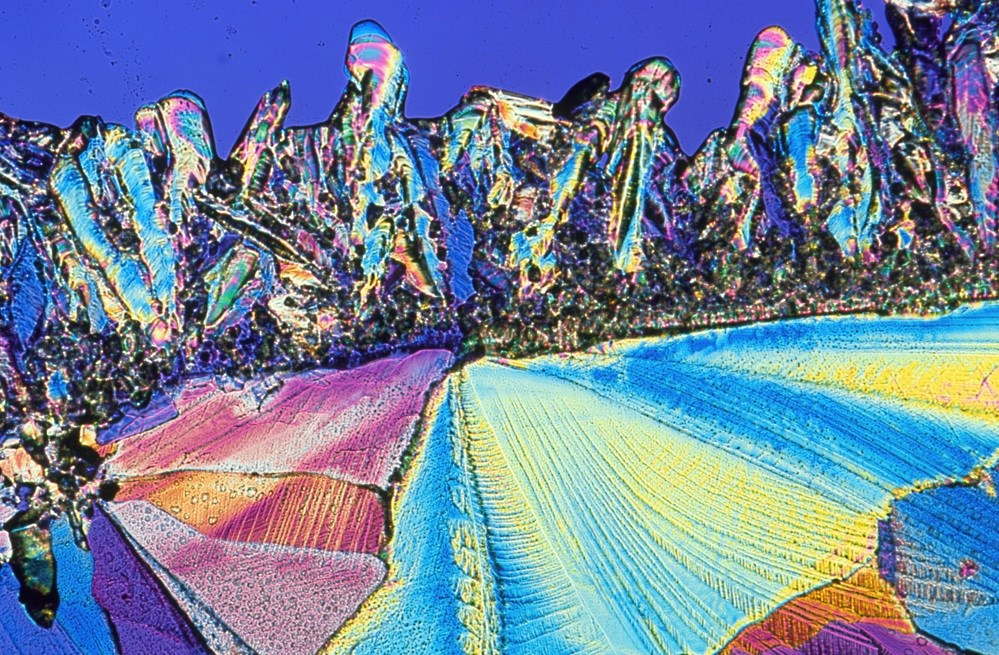 Polarized light micrograph of crystals of beta-endorphin, an opioid peptide that relieves pain. <i>Image credit: Alfred Pasieka/Science Source</i>