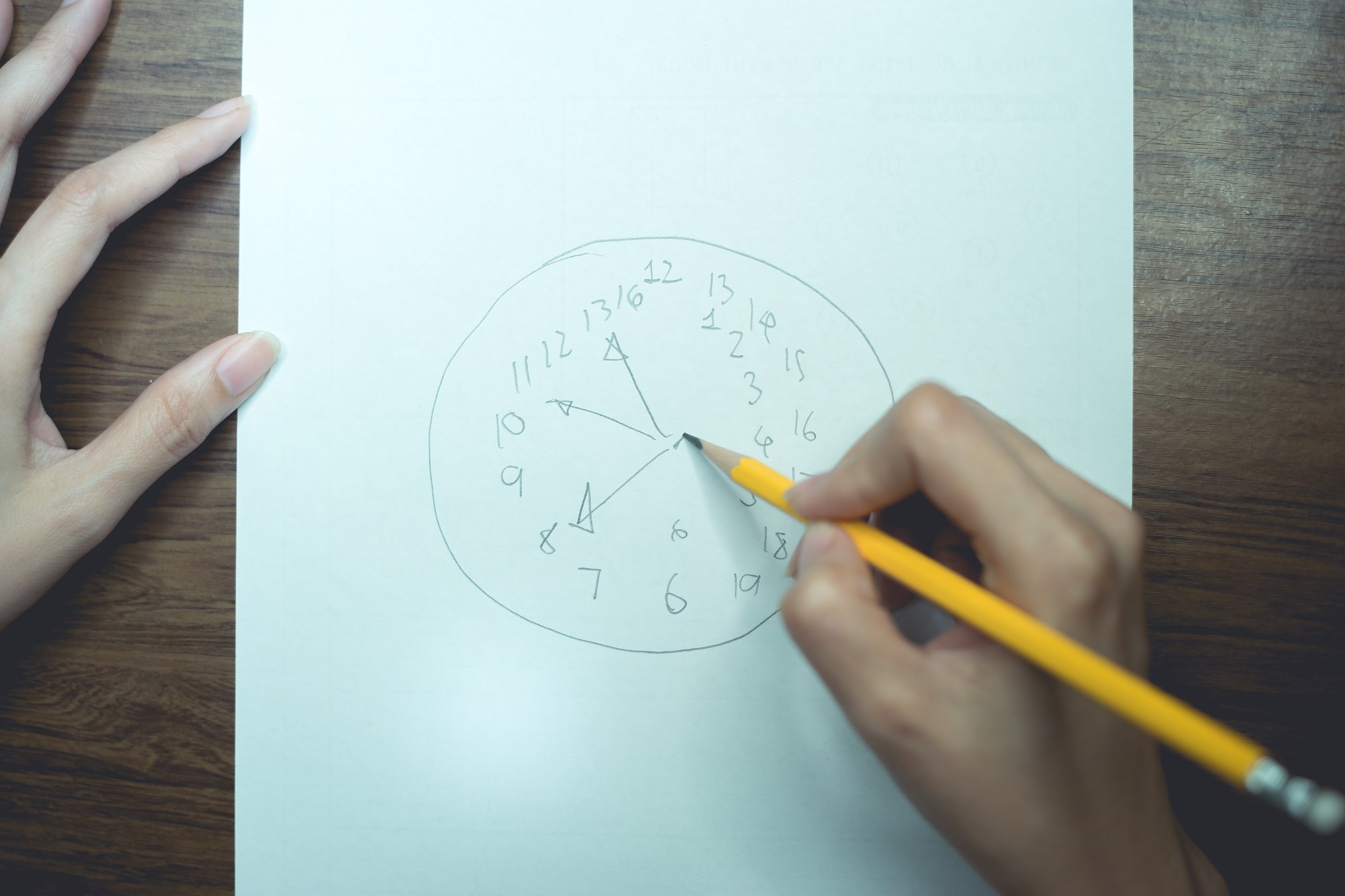 In a clock drawing task, the participant is asked to draw a clock showing a specific time.